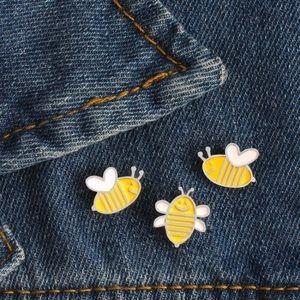 3 Bees Enamel Pin Set